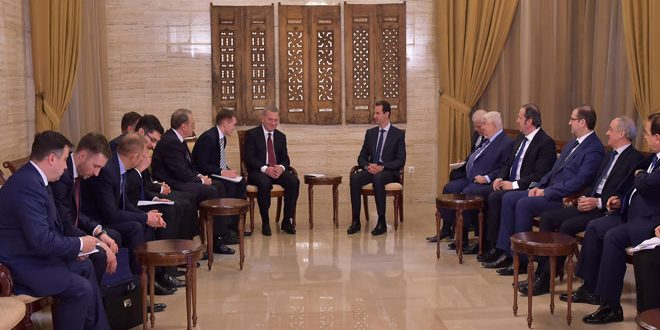 President al-Assad underscores importance of investing joint Syrian-Russian Commission to boost economic ties
