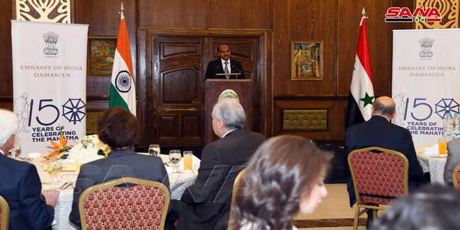 Reception at the Indian Embassy in Damascus on occasion of Mahatma Gandhi's birthday