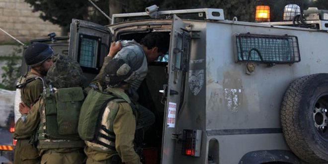 Israeli occupation troops arrest seven Palestinians in the West Bank