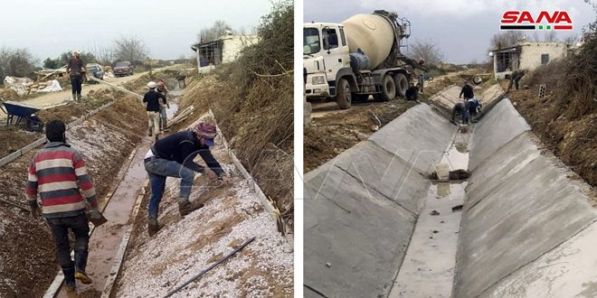 Two irrigation canals, damaged by terrorism, rehabilitated in Homs countryside